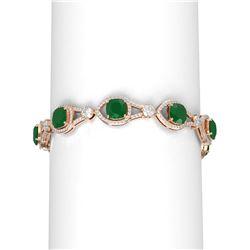 23.95 ctw Emerald & Diamond Bracelet 18K Rose Gold