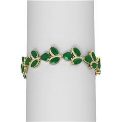 38.72 ctw Emerald & Diamond Bracelet 18K Yellow Gold