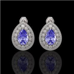 8.54 ctw Tanzanite & Diamond Victorian Earrings 14K White Gold