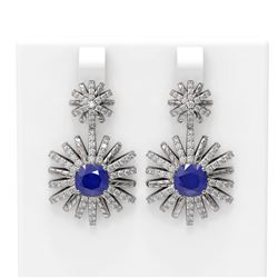 6.23 ctw Sapphire & Diamond Earrings 18K White Gold