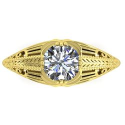 1 ctw Solitaire Certified VS/SI Diamond Ring Art Deco 14k Yellow Gold
