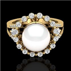 0.83 CT Micro Pave VS/SI Diamond Certified & Pearl Ring 18k Yellow Gold