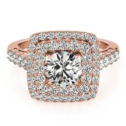 2.05 ctw Certified VS/SI Diamond Solitaire Halo Ring 14k Rose Gold