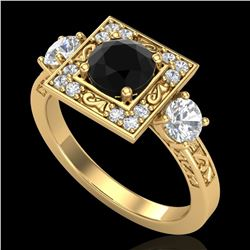 1.55 ctw Fancy Black Diamond Art Deco 3 Stone Ring 18k Yellow Gold