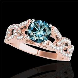 1.5 ctw SI Certified Fancy Blue Diamond Solitaire Ring 10k Rose Gold
