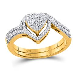 10kt Yellow Gold Round Diamond Heart Cluster Bridal Wedding Engagement Ring Band Set 1/3 Cttw