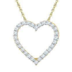 10kt Yellow Gold Round Diamond Heart Pendant 1/4 Cttw