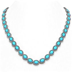 36.208 ctw Turquoise & Diamond Micro Pave Halo Necklace 10k White Gold