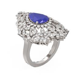 5.77 ctw Sapphire & Diamond Ring 18K White Gold