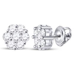 14kt White Gold Round Diamond Flower Cluster Earrings 3/4 Cttw