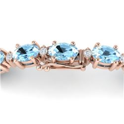 10 ctw Aquamarine & VS/SI Diamond Eternity Bracelet 10k Rose Gold
