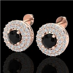1.40 ctw Micro VS/SI Diamond Designer Earrings DOUBLE 14k Rose Gold