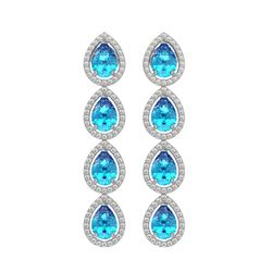 7.81 ctw Swiss Topaz & Diamond Micro Pave Halo Earrings 10k White Gold