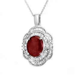 6.0 ctw Ruby & Diamond Pendant 18k White Gold