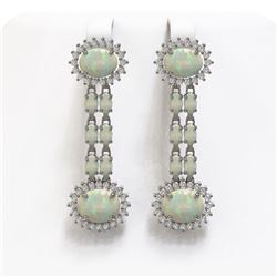 6.73 ctw Opal & Diamond Earrings 14K White Gold
