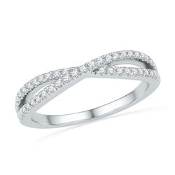 10kt White Gold Round Diamond Crossover Band Ring 1/4 Cttw