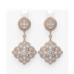 6.48 ctw Diamond Earrings 18K Rose Gold