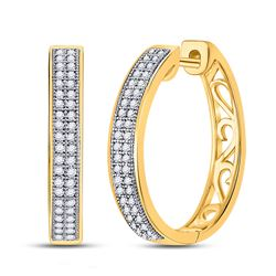 10kt Yellow Gold Round Diamond Double Row Pave Hoop Earrings 1/4 Cttw