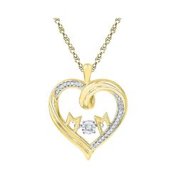 10kt Yellow Gold Round Diamond Moving Twinkle Mom Heart Pendant 1/12 Cttw