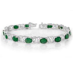 12.05 ctw Emerald & Diamond Bracelet 14k White Gold