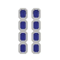 12.33 ctw Sapphire & Diamond Micro Pave Halo Earrings 10k White Gold