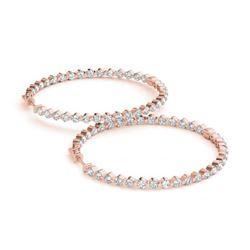 2 ctw Diamond VS/SI Certified 36 MM Hoop Earrings 14k Rose Gold
