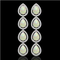 9.12 ctw Opal & Diamond Micro Pave Halo Earrings 10k White Gold