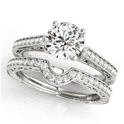 0.57 ctw Certified VS/SI Diamond 2pc Wedding Set Antique 14k White Gold
