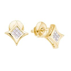 14kt Yellow Gold Princess Diamond Cluster Kite Square Earrings 1/6 Cttw