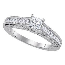 14kt White Gold Princess Diamond Solitaire Bridal Wedding Engagement Ring 5/8 Cttw