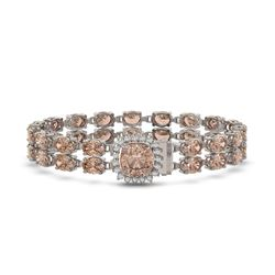 16.93 ctw Morganite & Diamond Bracelet 14K White Gold