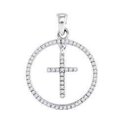 10k White Gold Round Diamond Cross Circle Pendant 1/4 Cttw