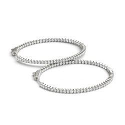 2.75 ctw Diamond VS/SI 28 MM Hoop Earrings 14k White Gold