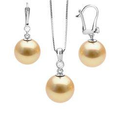 Golden South Sea Pearl and Diamond Bezel Pendant and Dangle Earring Set