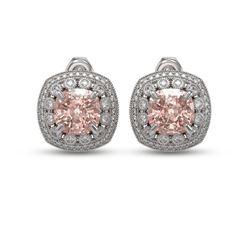 11.19 ctw Morganite & Diamond Victorian Earrings 14K White Gold