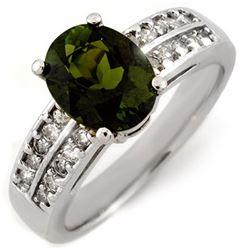 3.0 ctw Green Tourmaline & Diamond Ring 14k White Gold