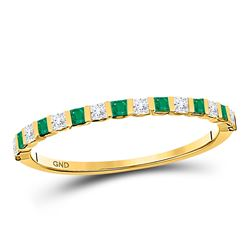 10kt Yellow Gold Princess Emerald Diamond Alternating Stackable Band Ring 1/3 Cttw