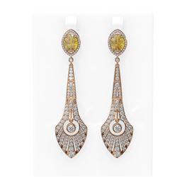 8.55 ctw Canary Citrine & Diamond Earrings 18K Rose Gold
