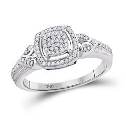 10kt White Gold Round Diamond Square Halo Cluster Ring 1/5 Cttw