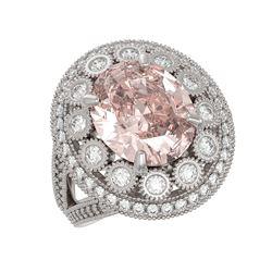 7.06 ctw Certified Morganite & Diamond Victorian Ring 14K White Gold