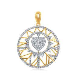 14kt Yellow Gold Round Diamond Modern Starburst Heart Pendant 5/8 Cttw