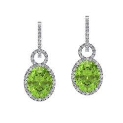 6 ctw Peridot & Micro Pave Halo VS/SI Diamond Earrings 14k White Gold
