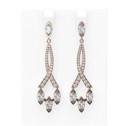 5.41 ctw Marquise Diamond Earrings 18K Rose Gold