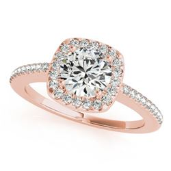 1.01 ctw Certified VS/SI Diamond Solitaire Halo Ring 14k Rose Gold