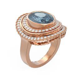 6.26 ctw Blue Topaz & Diamond Ring 18K Rose Gold