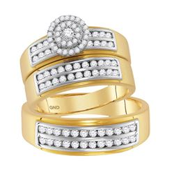 14kt Yellow Gold His & Hers Round Diamond Solitaire Matching Bridal Wedding Ring Band Set 7/8 Cttw