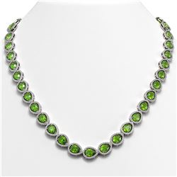 33.35 ctw Peridot & Diamond Micro Pave Halo Necklace 10k White Gold