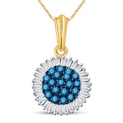10kt Yellow Gold Round Blue Color Enhanced Diamond Cluster Pendant 1/2 Cttw