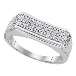 Sterling Silver Mens Round Diamond Rectangle Band Ring 1/6 Cttw