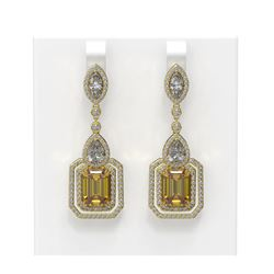 13.85 ctw Canary Citrine & Diamond Earrings 18K Yellow Gold
